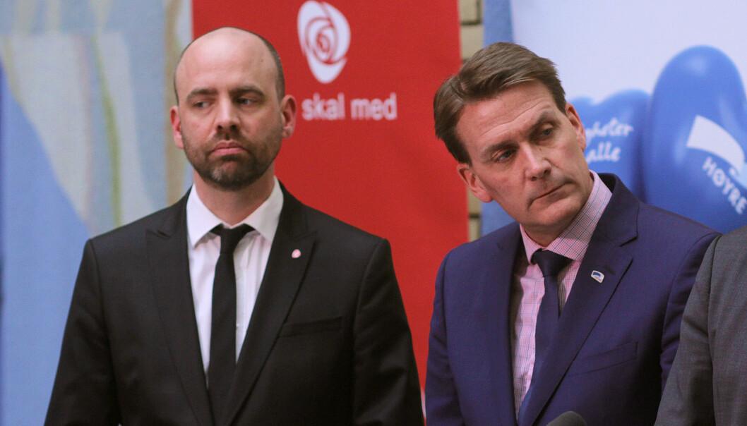 Arbeiderpartiets Arild Grande (til venstre) og Høyres Kårstein Eidem Løvaas. Foto: Glenn Slydal Johansen