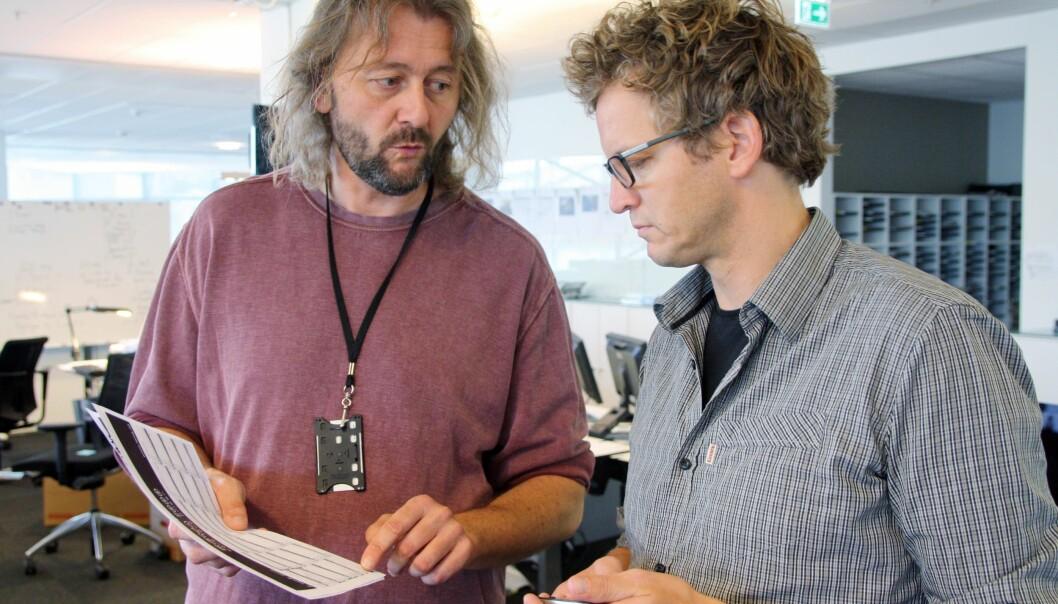 Thomas Ergo (t.h.) var reporter og Hans Petter Aass drev research og kontroll under det omfattende arbeidet med Glassjenta-prosjektet. Foto: Ivar Vasstveit, Stavanger Aftenblad