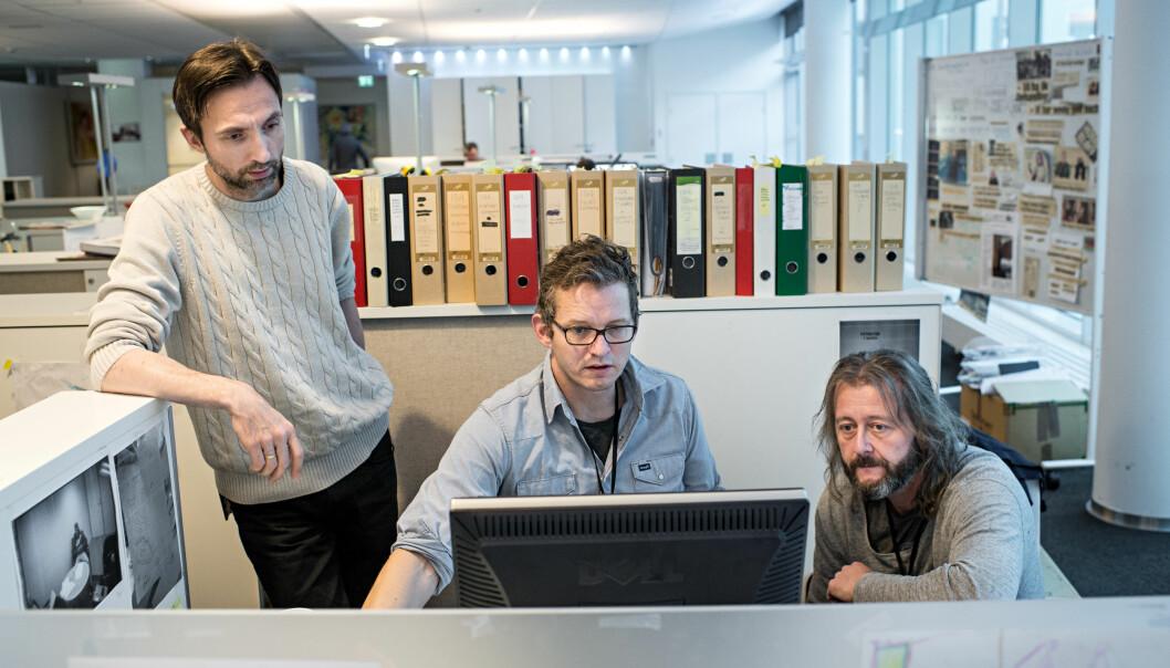 Journalistene Rune Vandvik (f.v), Thomas Ergo og Hans Petter Aass noen dager før publiseringen 30. januar. Foto: Jarle Aasland, Stavanger Aftenblad