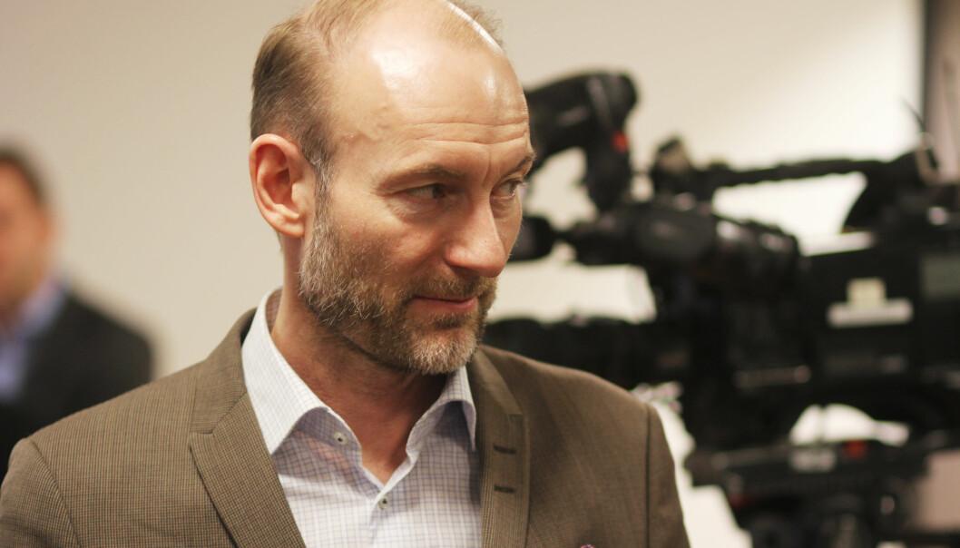 Knut Olav Åmås på pressekonferansen i anledning Amedia-salget. Foto: Martin Huseby Jensen