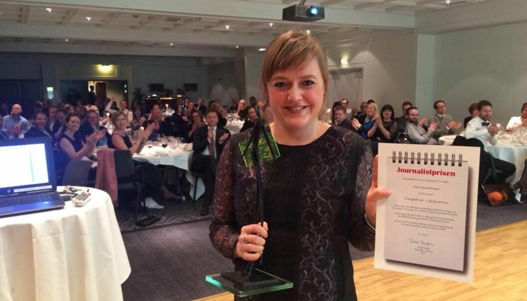 Ina Gundersen fra Stavanger Aftenblad vant prisen for årets nyhetssak. Foto: Eirin Larsen.
