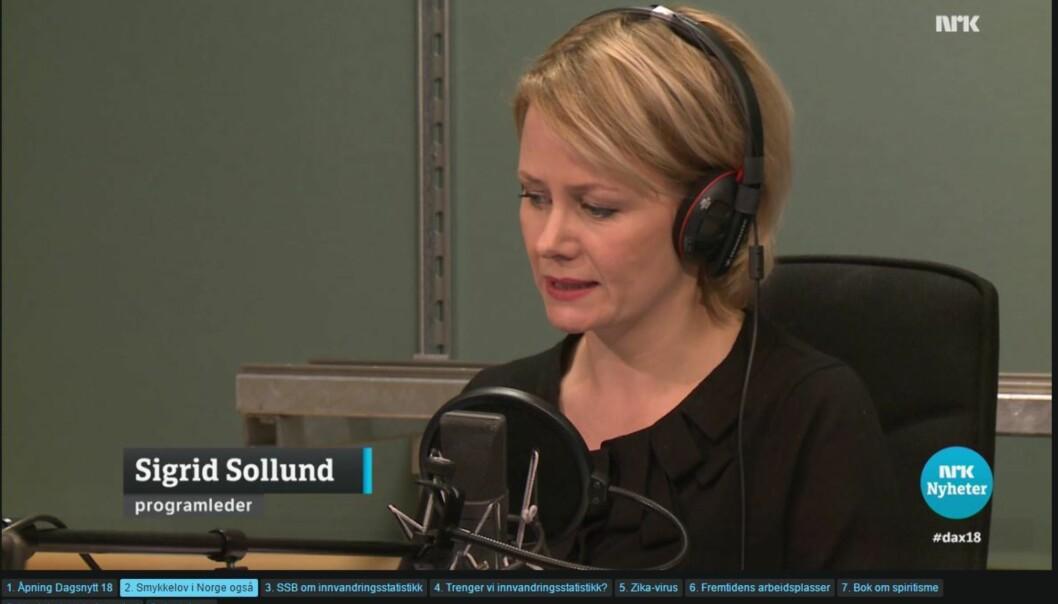 Sigrid Sollund var igjen programleder på Dagsnytt Atten da norske bestemmelser om asylsøkeres private verdier ble debattert sist onsdag.