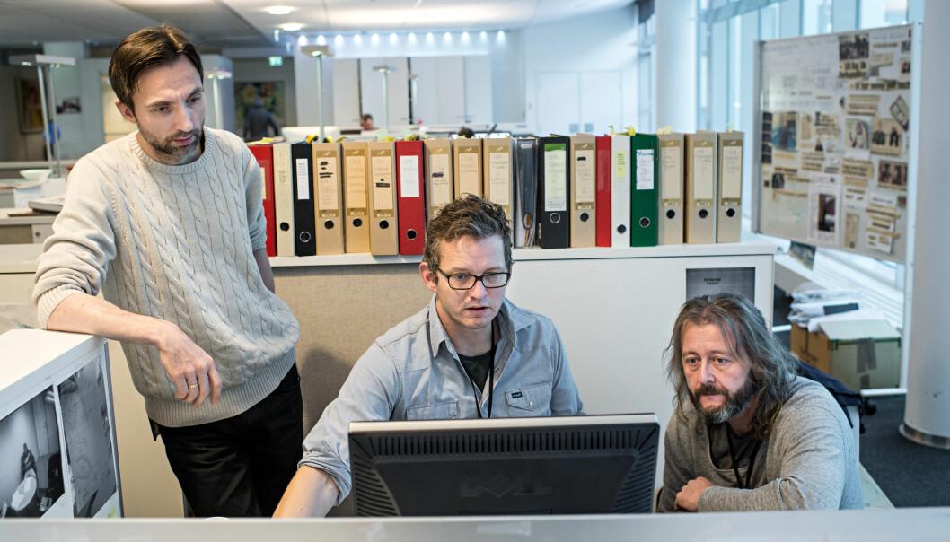 Journalistene Rune Vandvik (fra venstre), Thomas Ergo og Hans Petter Aass Foto: Jarle Aasland / Stavanger Aftenblad