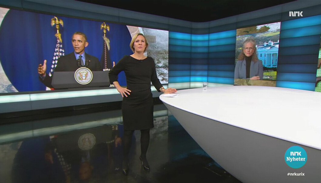 Urix og programleder Gry Blekastad Almås hadde et 13 minutter langt innslag om våpenlovene i USA i forrige uke. Foto: Skjermpump NRK TV-spiller
