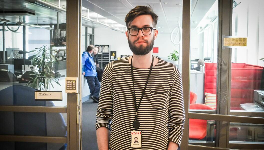 Dennis Ravndal, leder av redaksjonsklubben i VG, er foreløpig forsiktig med å kommentere sluttavtalene som er drøftet med ledelsen. Foto: Kathrine Geard
