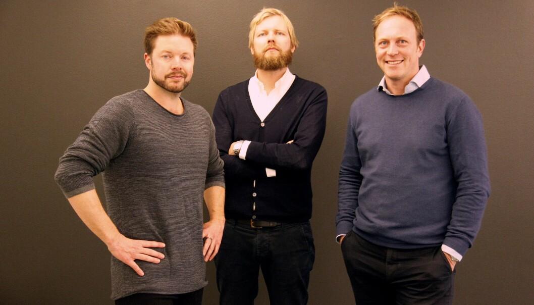 Styreleder Even Aas-Eng i Filter Media (til venstre), daglig leder Lars Eide i Filter Media og administrerende direktør Martin Berntzen i mediebyrået MEC.