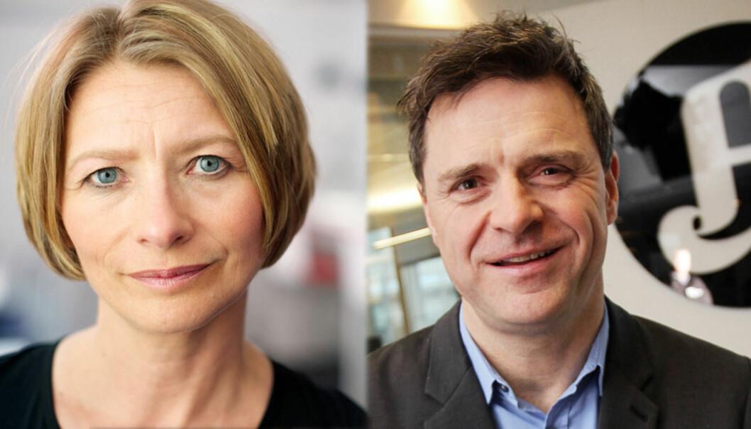 Forbrukerombud Gry Nergård og publisher Espen Egil Hansen i Aftenposten. Foto: cf-wesenberg@kolonihaven.no/Birgit Dannenberg