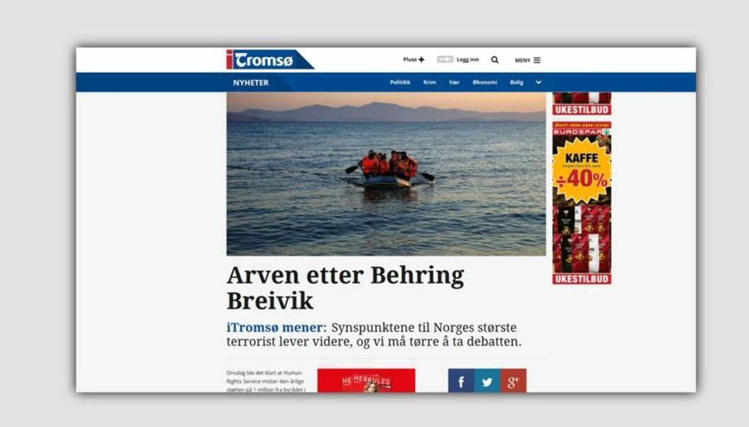 HRS har klagd inn to lederartikler i iTromsø til PFU. Foto: Skjermdump.