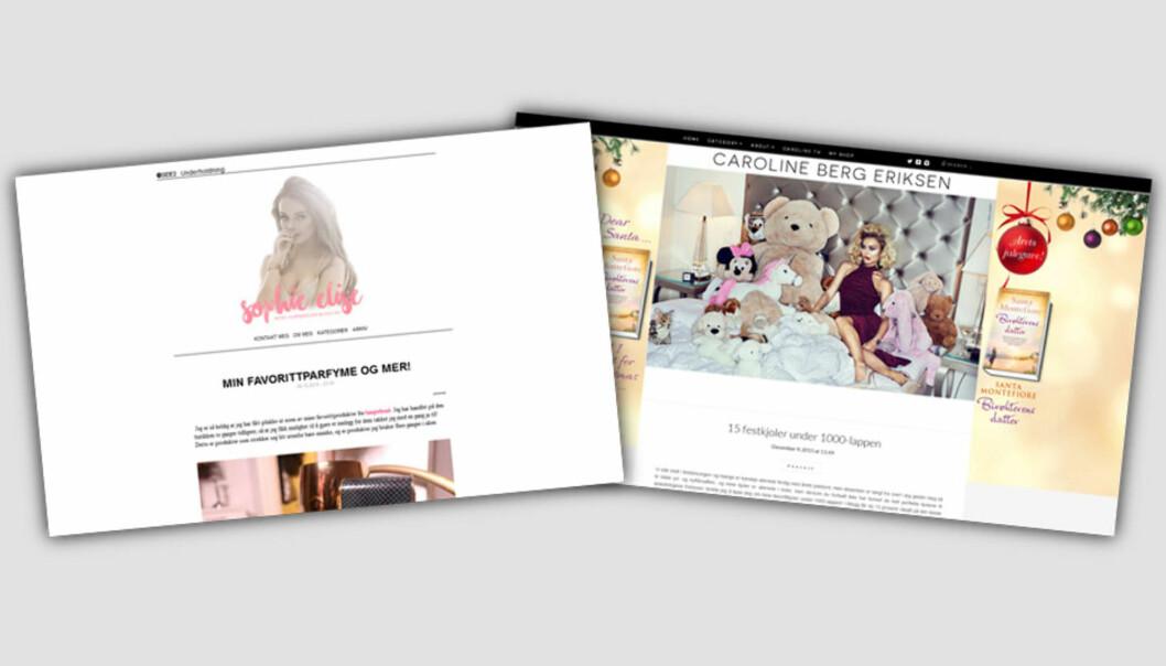 Sophie Elise og Caroline Berg Eriksen er begge bloggere med suksess.