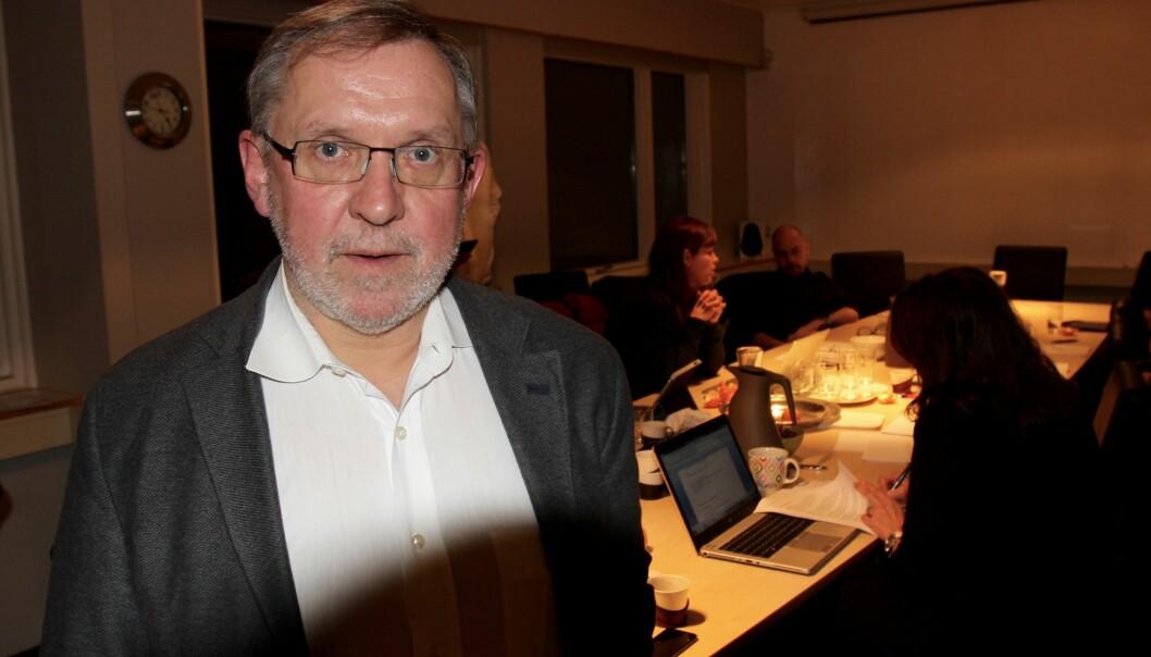 Harald Stanghelle ledet styremøtet i Norsk Redaktørforening tirsdag kveld. Foto: Aslaug Olette Klausen