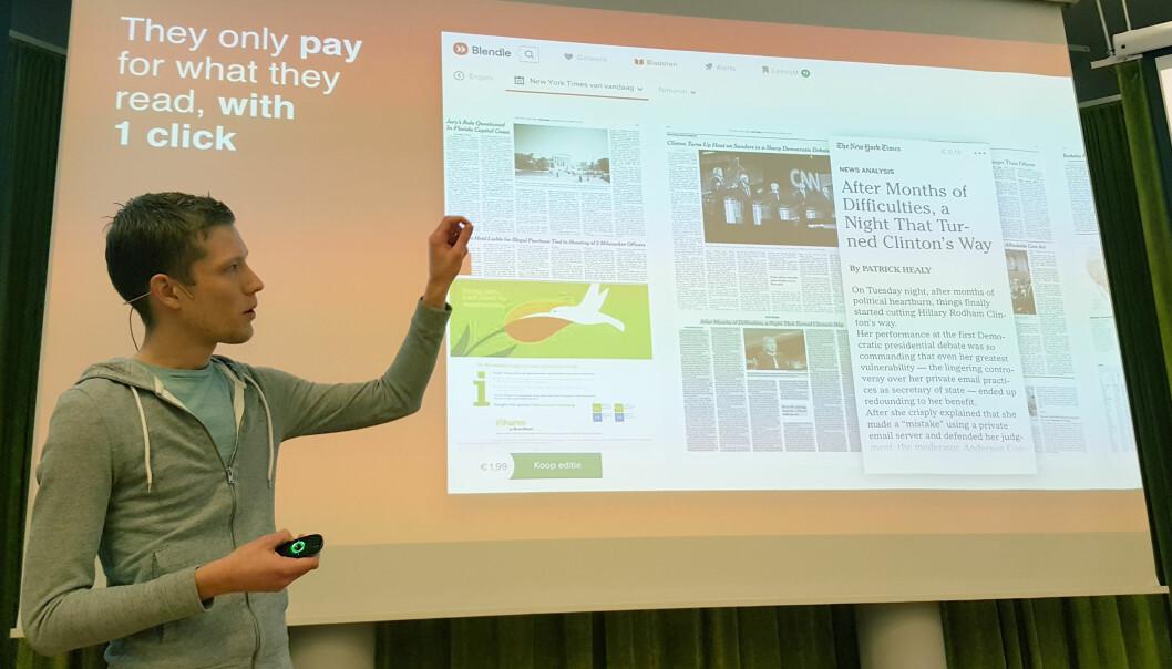 Produktsjef Rick Pastoor fra Blendle demonstrerte hvordan innholdet blir presentert i den enkelte publikasjonens typografi og utseende. Foto: Bjørn Åge Mossin