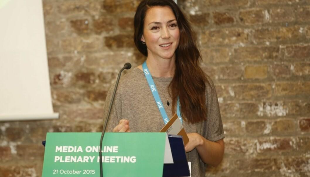 Kristin Granbo presenterer sin rapport om hvordan nyheter for barn skal overleve i en digital verden.