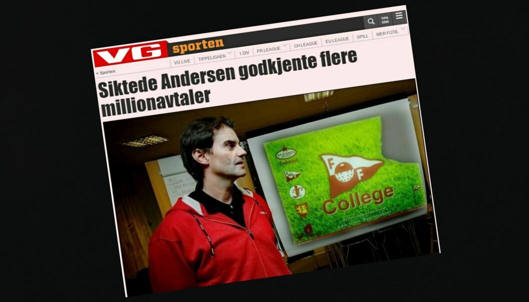 Dette oppslaget på VG Nett 14. desember 2011 er stridens kjerne i klagesaken mot VG i PFU tirsdag. Også Fredriksstad Blad er innklaget for ikke å ha beklaget påstander om Morgan Andersen.