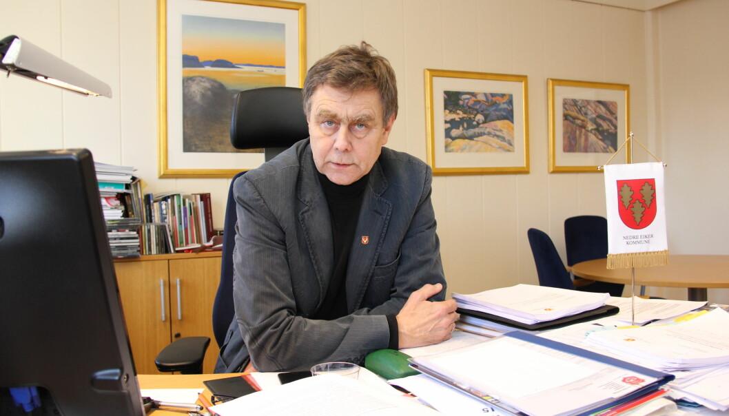 Ordfører Bent Inge Bye i Nedre Eiker kommune er ikke blid på Drammens Tidende om dagen. Foto: Cathrina de Lange, Nedre Eiker kommune