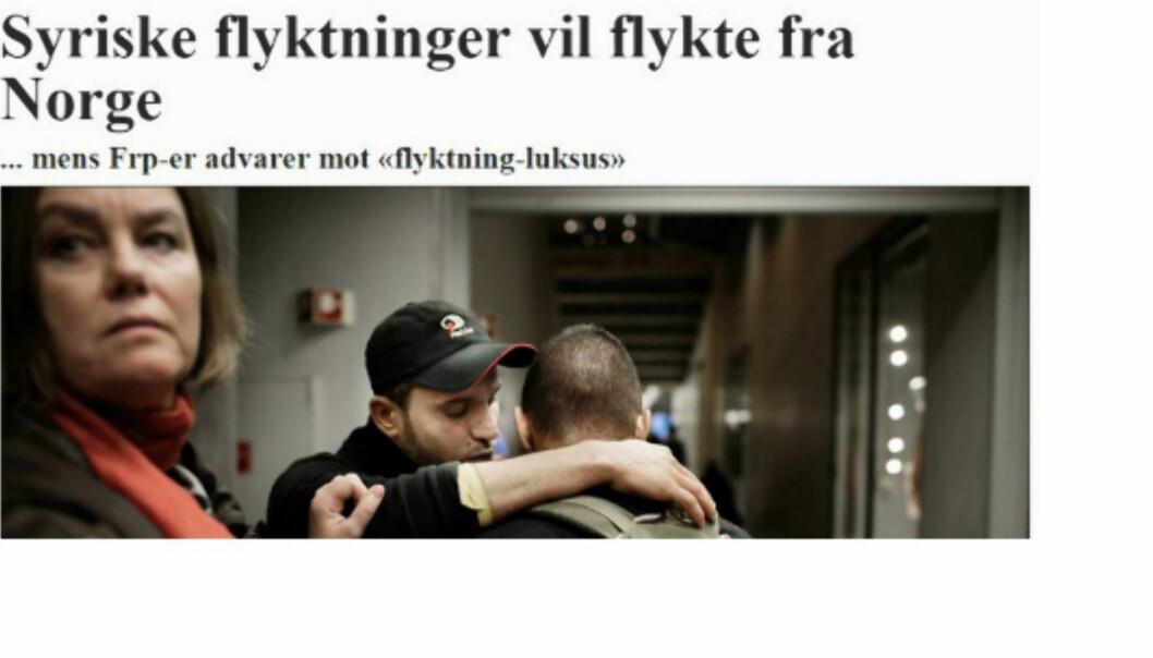 Faksimile av VGs reportasje om de to syrerne som ville forlate Norge.