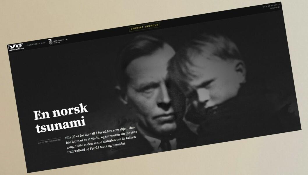 Skjermdump av VGs kommersielle nettprosjekt om storfilmen Bølgen