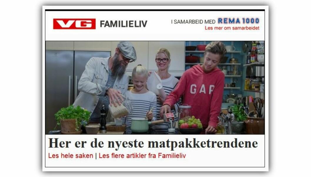 Skjermdump fra VG Nett