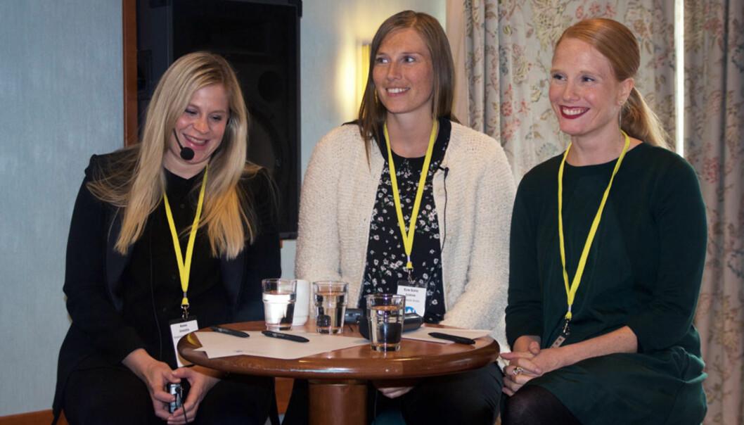 Susanne Kaluza (helt til høyre i bildet) ble årets kvinnelige medietalent. De to andre nominerte til venstre er Anna Jonzén og Elin Sofie Lorvik. Foto: Medienettverket