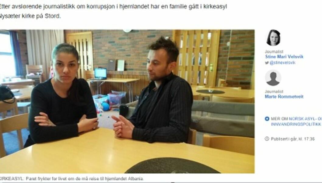 Det albanske paret valgte å gå i kirkeasyl etter to avslag på asylsøknaden. Foto: Skjermdump fra nrk.no