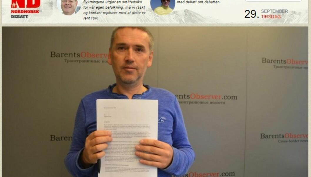 Faksimile av kommentaren i Nordlys/Nord24.no om Barentssekretariatet som har sparket redaktør Thomas Nilsen i Barents Observer