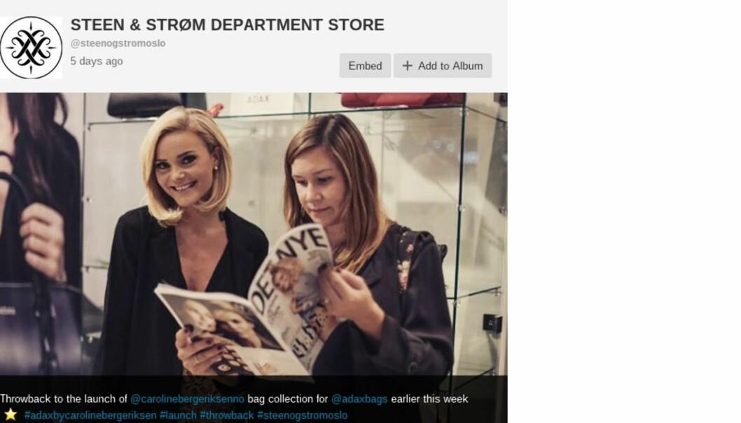 Skjermdump fra Steen & Strøms Instagram-konto