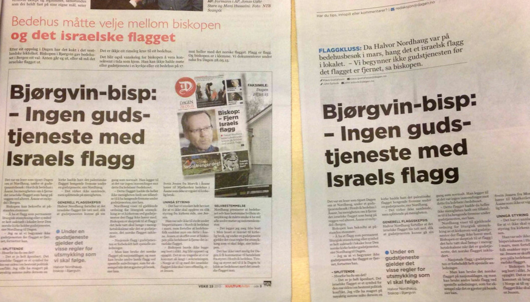 Originalsaken i Dagen til høyre, gjengivelsen hos konkurrenten Norge Idag til venstre. Foto: Silje Rognsvåg, Dagen