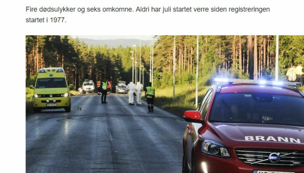 Skjermdump fra NRKs artikkel