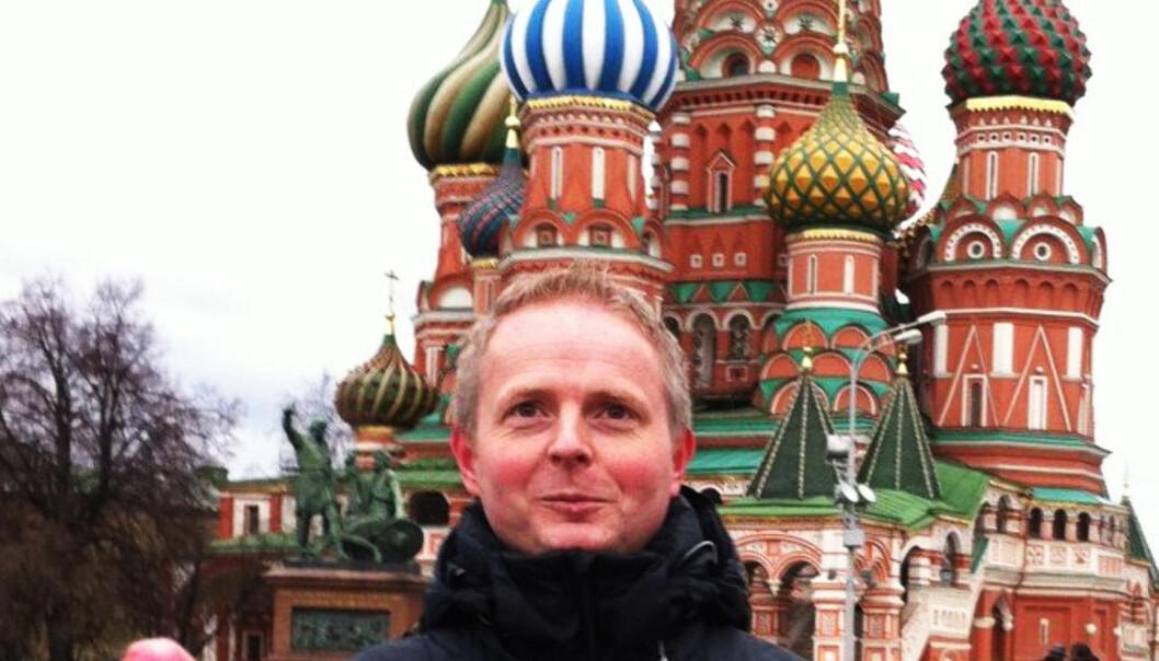 Steinar Dyrnes foran Kreml. Foto: Privat