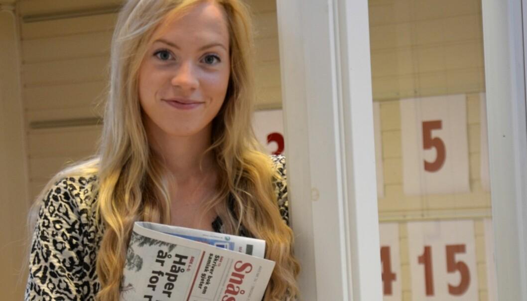 Torun Støbakk slutter som redaktør i lokalavisa Snåsningen på Snåsa for å ta mer utdannelse. Foto: Lornts Erik Gifstad/Snåsningen