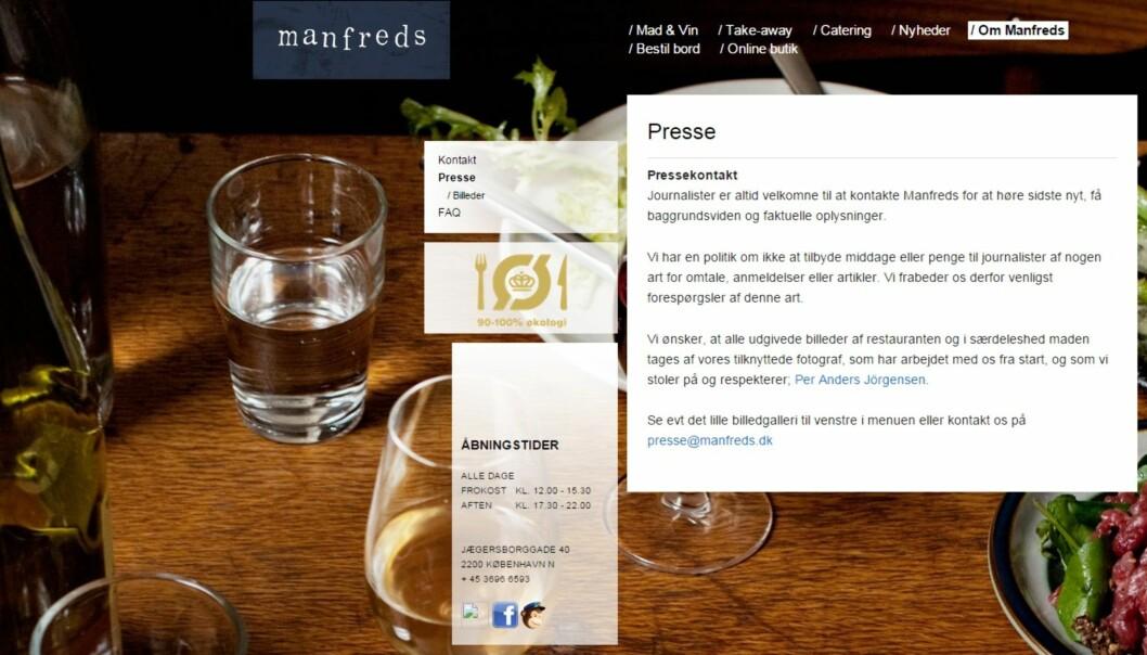 På hjemmesidene til restaurant Manfreds i København ligger nå denne advarselen til journalister som måtte være ekstra sultne på mat og penger.