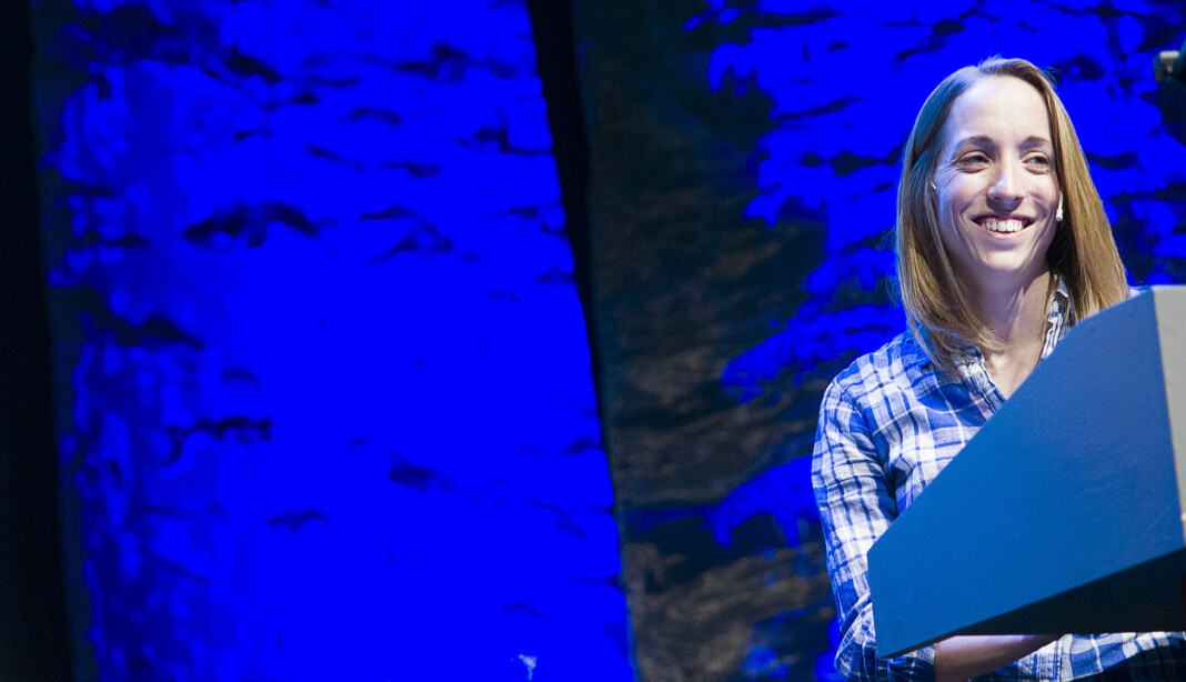 Runa Sandvik på mediedagene i Bergen 2015, der hun intervjuet Edward Snowden. Foto: Nordiske Mediedager
