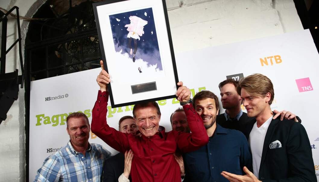 Politiforum med ansvarlig redaktør Ole Martin Mortvedt i spissen hadde god grunn til å juble da Fagpressen delte ut priser torsdag kveld. Foto: Håkon Mosvold Larsen/NTBscanpix