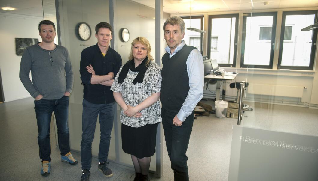 Redaksjonen i Barents Observer med redaktør Thomas Nilsen helt til høyre. Ellers, fra venstre: Jonas Karlsbakk, Atle Staalesen og Trude Pettersen. Foto: Claus Bergersen