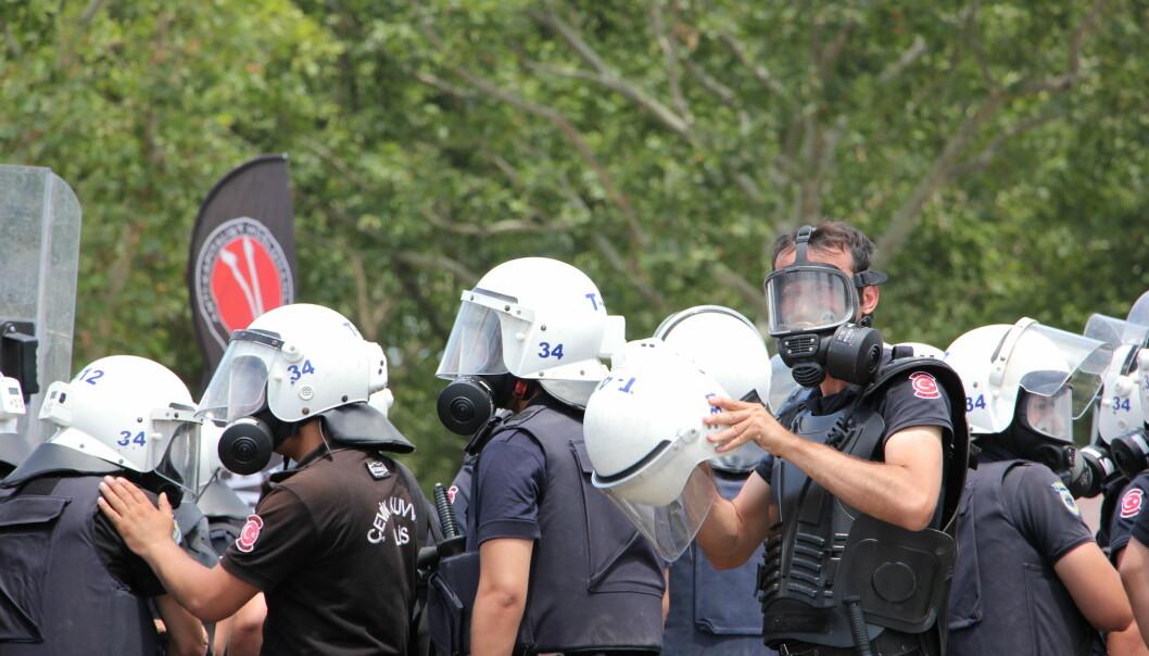 Politiet slår ofte hardt til mot demonstranter som misliker president Erdogan. Foto: Mariann Strand