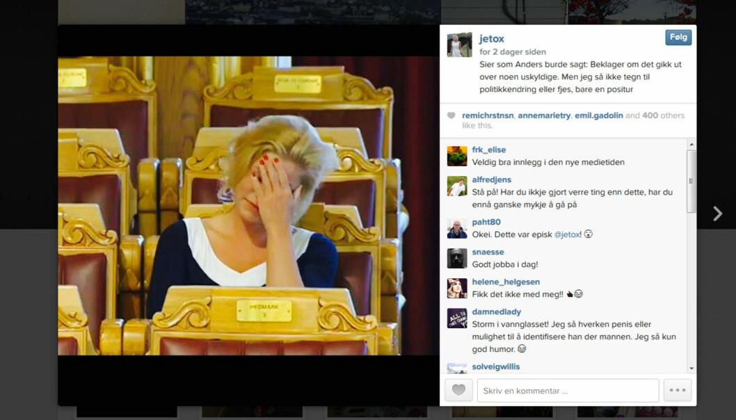 Dagen etter BTs oppslag la Jette Christensen ut dette bildet på Instagram. Faksimile.