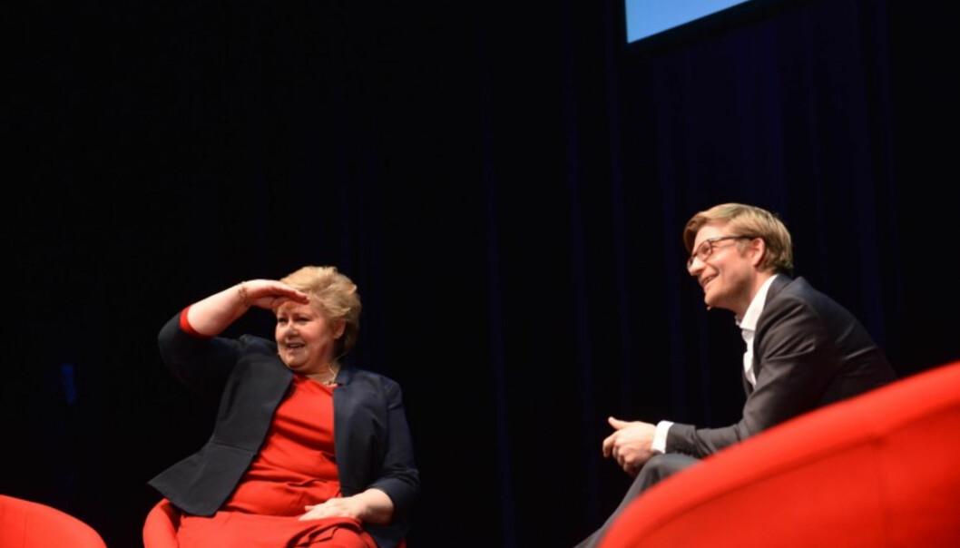 Bergestuen under årets konferanse med statsminister Erna Solberg. Foto: Marius Nyheim Kristoffersen/Skup