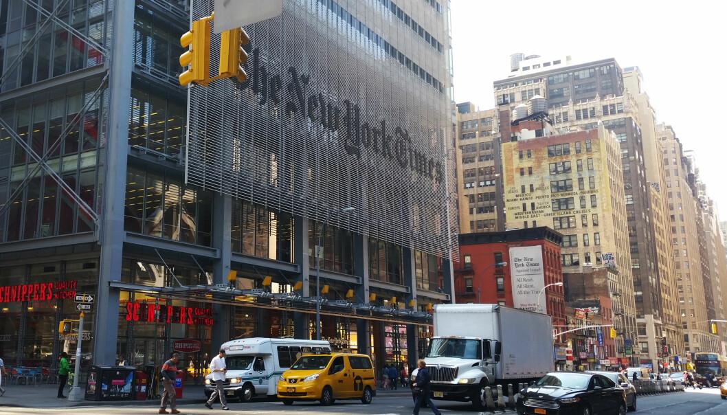 New York Times har over flere år kuttet kraftig i redaksjonen. Nå fortsetter de, men for å ansette flere journalister. Foto: Martin Huseby Jensen