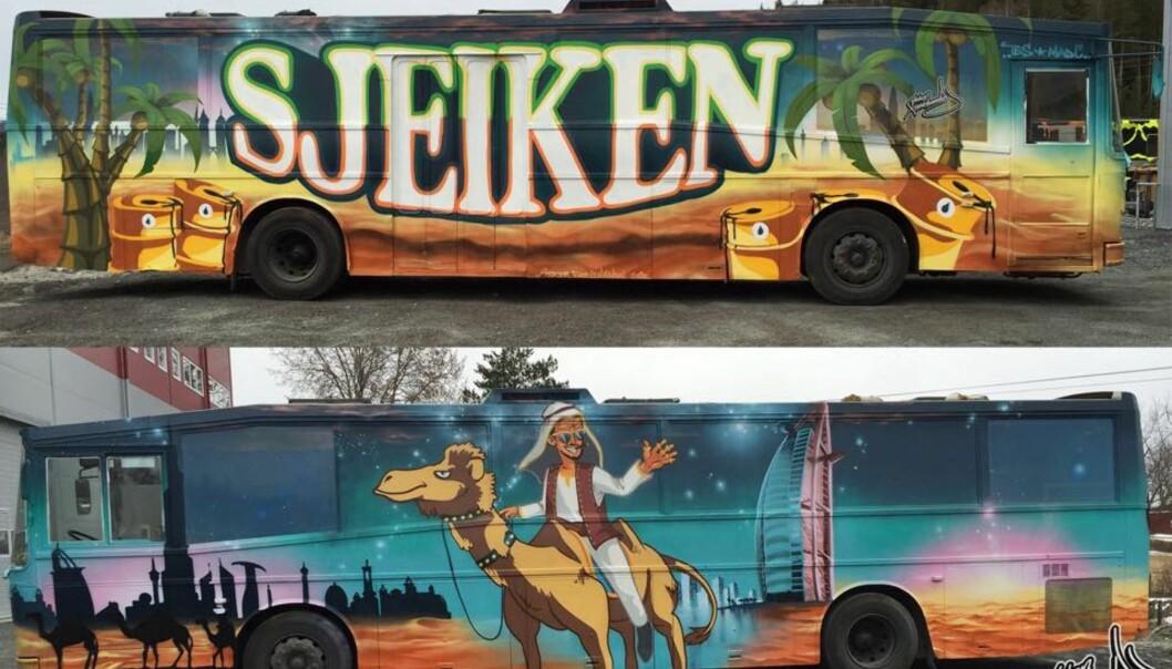 """Stabækks-russebussen Sjeiken har kjøpt en av låtene som får hard medfart i media. På sin Facebookside skriver de: """"Sjeiken har i lang tid støttet Amnesty sin Nei er Nei kampanje mot voldtekt, og vi vet at vår medruss forstår humoren til sangteksten vår."""" Foto: Sjeiken"""