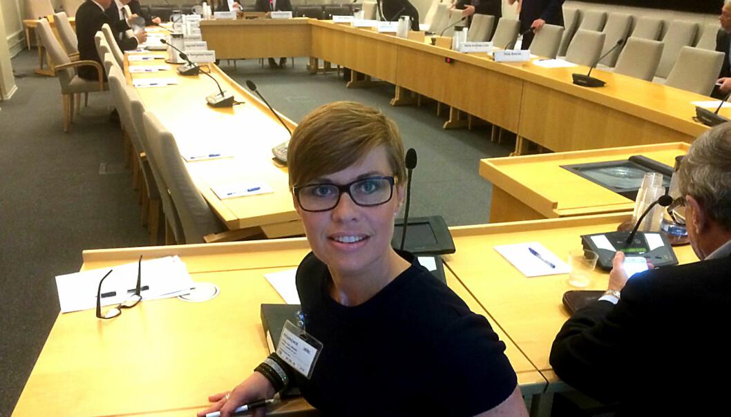 NJ-advokat Ina Lindahl Nyrud under høringen i Finansdepartementet torsdag formiddag. Foto: Siri Gedde-Dahl