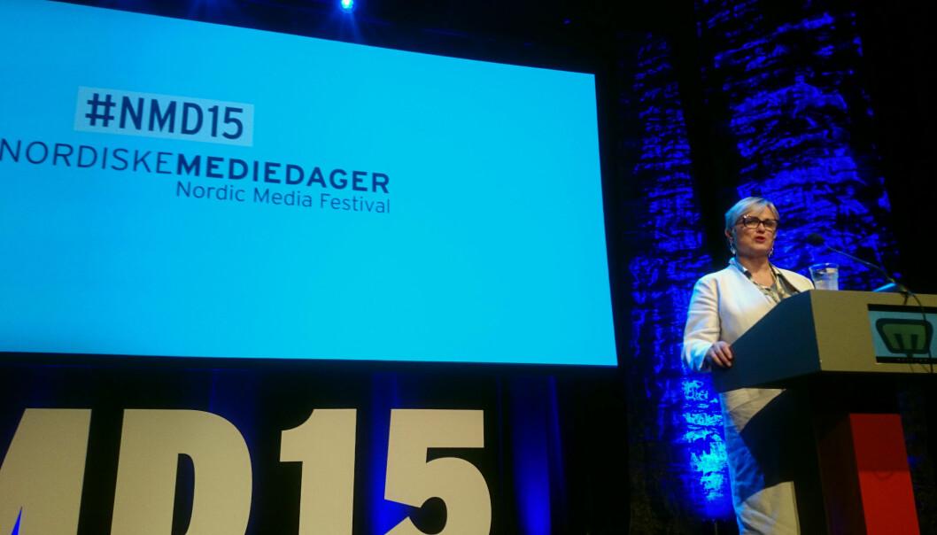 Kulturminister Thorhild Widvey fra Høyre åpnet Mediedagene i Bergen onsdag kveld. Foto: Glenn Slydal Johansen