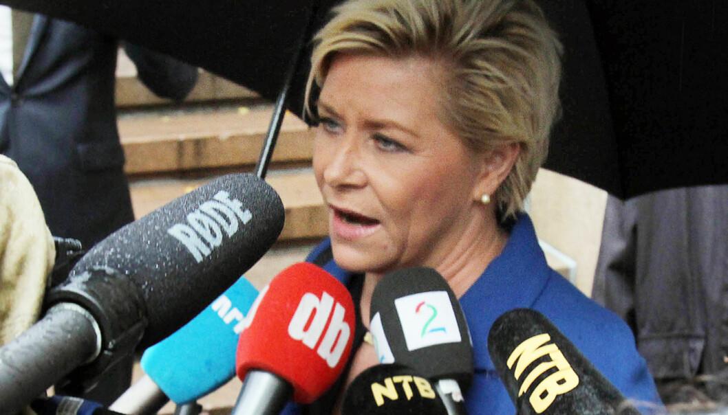 Finansminister Siv Jensen har tro på gjennomslag for planene om nullmoms også for digitale medier. Foto: Birgit Dannenberg