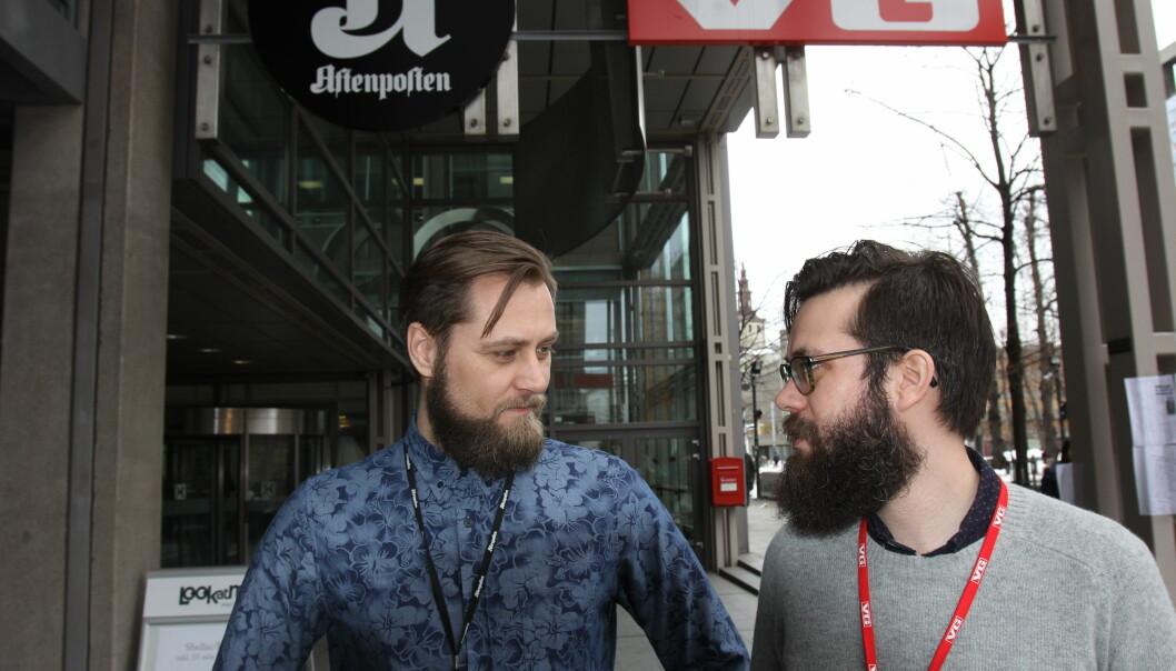 Leder av redaksjonsklubben i Aftenposten Frank Lynum (t.v.) og leder av redaksjonsklubben i VG Dennis Ravndal ønsker å beskytte kompetanse mot faktorer som geografi og alder. Foto: Bjørn Åge Mossin