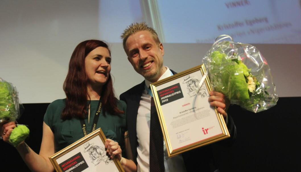 Maren Sæbø og Kristoffer Egeberg fikk begge IR-prisen. Foto: Martin Huseby Jensen