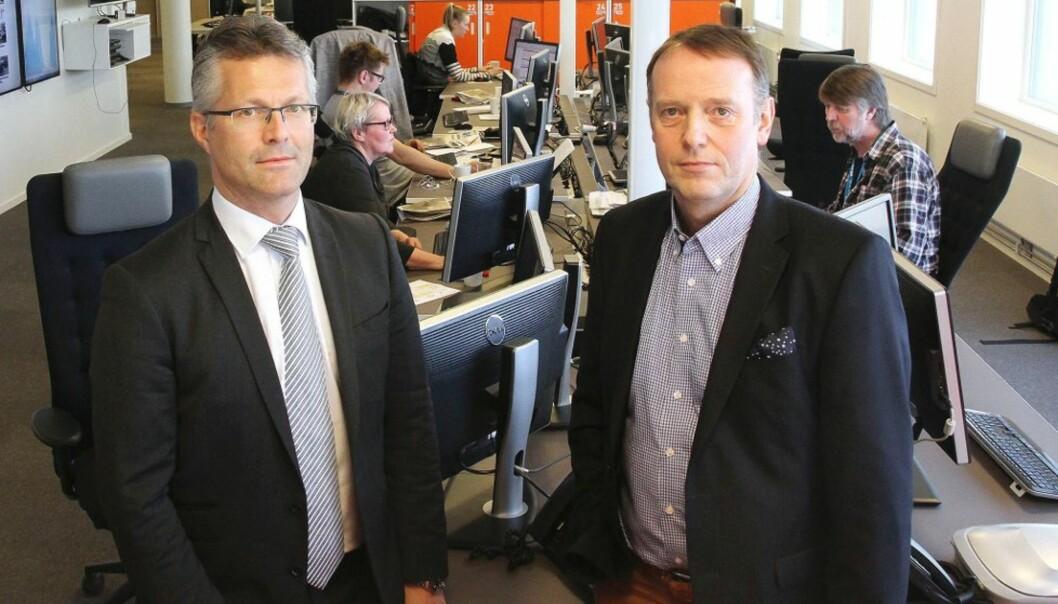 Advokat Trond Hatland (til venstre) og sjefredaktør Jan-Eirik Hanssen i Avisa Nordland. Foto: Rune Grønlie/Avisa Nordland