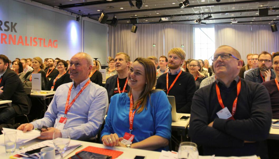 NJs lederduo Thomas Spence og Hege Iren Frantzen stiler mot gjenvalg når landsmøtet avsluttes torsdag. Foto: Martin Huseby Jensen