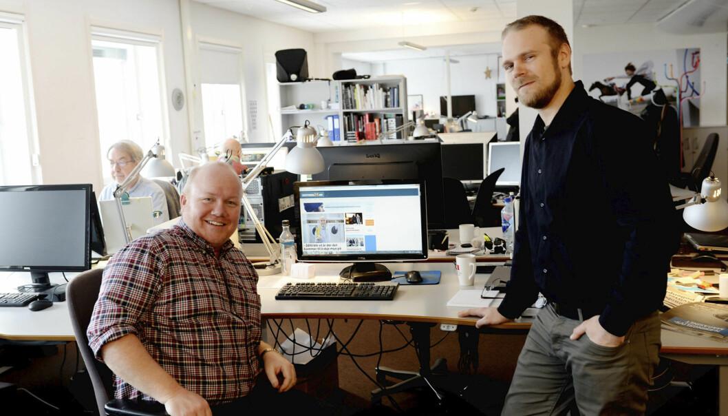 Redaktør Jan Erik Hvidsten meg (til venstre) og Magnus Nilsen som lager journalistisk innhold til nettstedet. Foto: Anne Charlotte Schjøll, TB