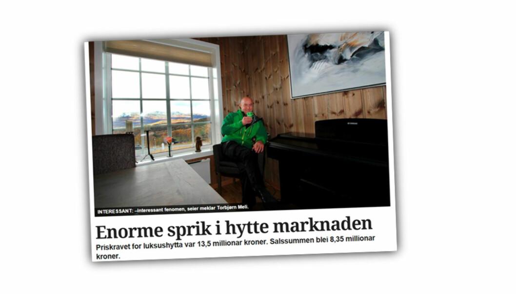 I en av klagesakene skal PFU avgjøre om Varden 27. oktober i fjor gikk for langt i denne artikkelen om hyttemarkedet i Telemark. Illustrasjon: Skjermdump fra Varden.no