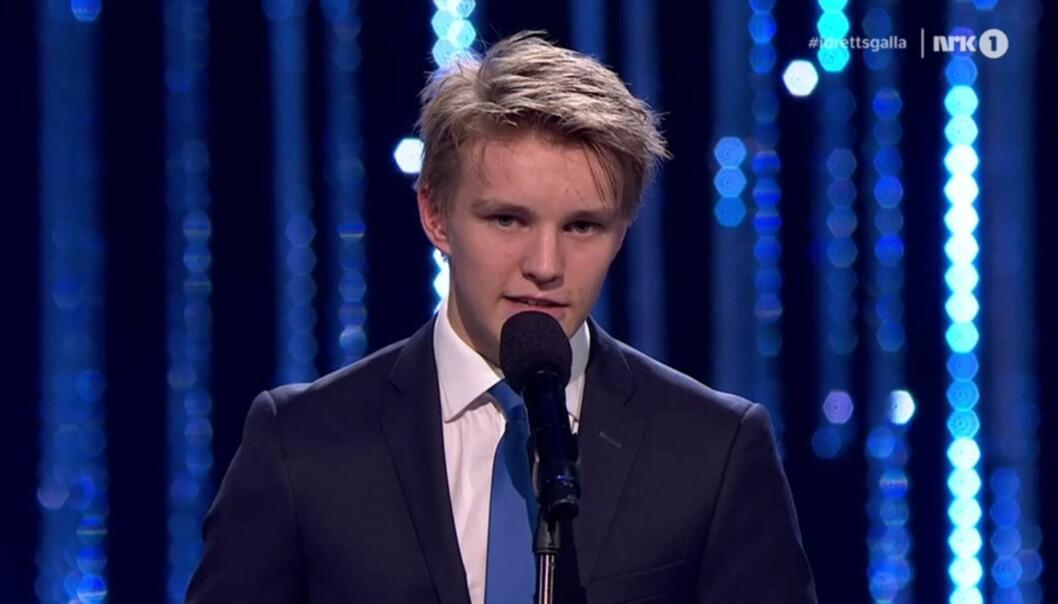 Martin Ødegaard på Idrettsgallaen 2014. Foto: NRK