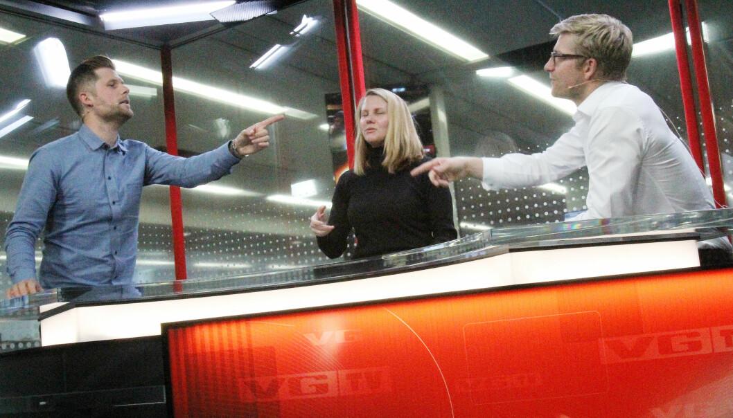 VG-anker Mads A. Andersen øver seg i studio med Svein Tore Bergestuen, som er leid inn for å gi gode råd før sendestart. Lørdag går startsignalet for den nye lineære tv-kanalen. Foto: Birgit Dannenberg