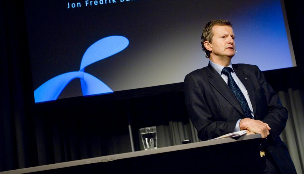 Telenors konsernsjef Jon Fredrik Baksaas tar et regnskapsmessig tap på 276 millioner kroner i Amedia. Foto: Telenor